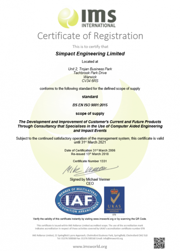 Simpact successfully upgrade to ISO9001:2015 Quality Management System