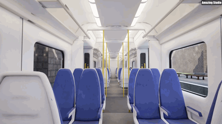 UNITY VR Model of train carriage with SPACETRAIN seating